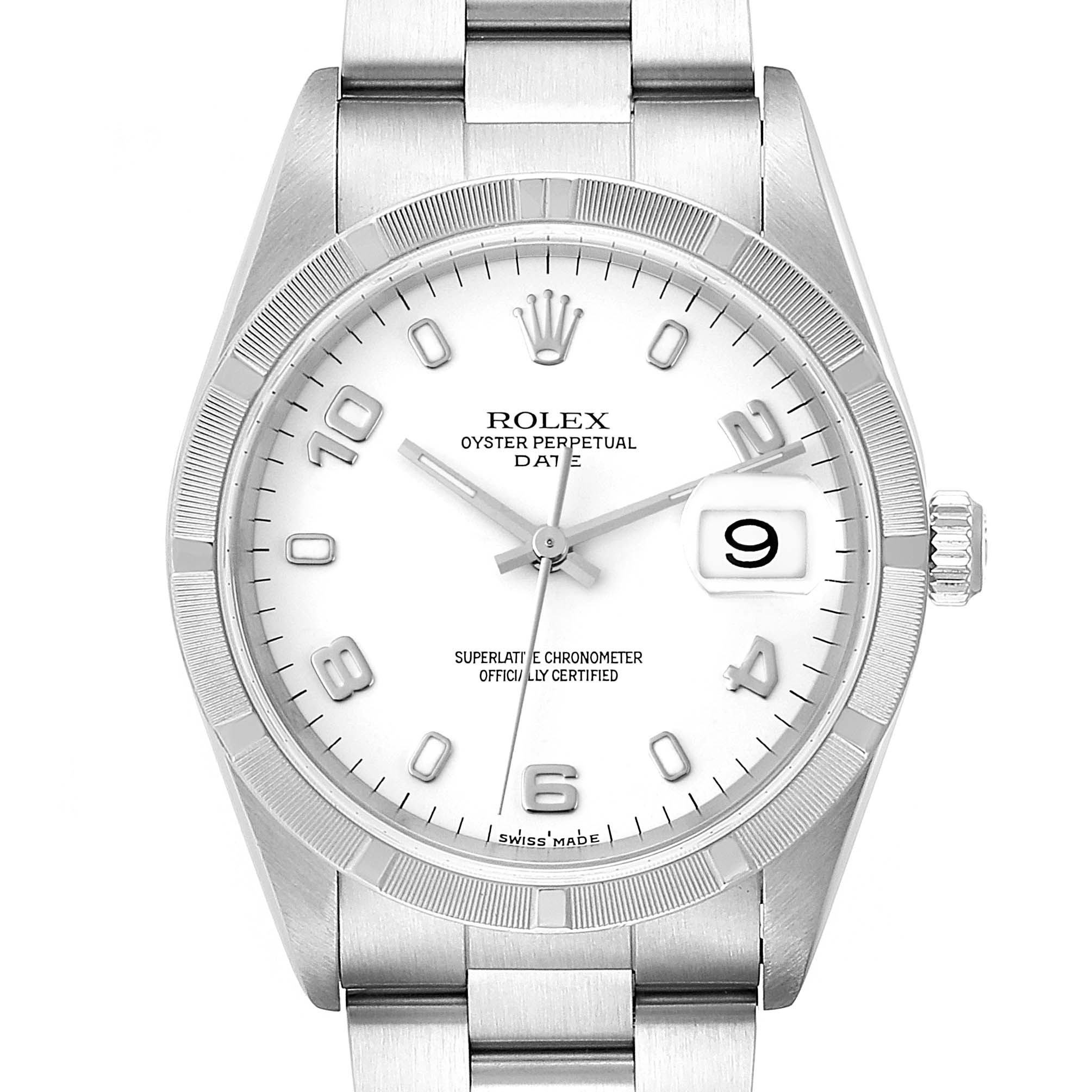 Rolex Date White Dial Engine Turned Bezel Steel Mens Watch 15210