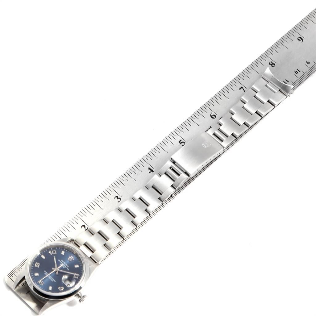 24919 Rolex Date Blue Arabic Dial Steel Mens Watch 15200 Box SwissWatchExpo