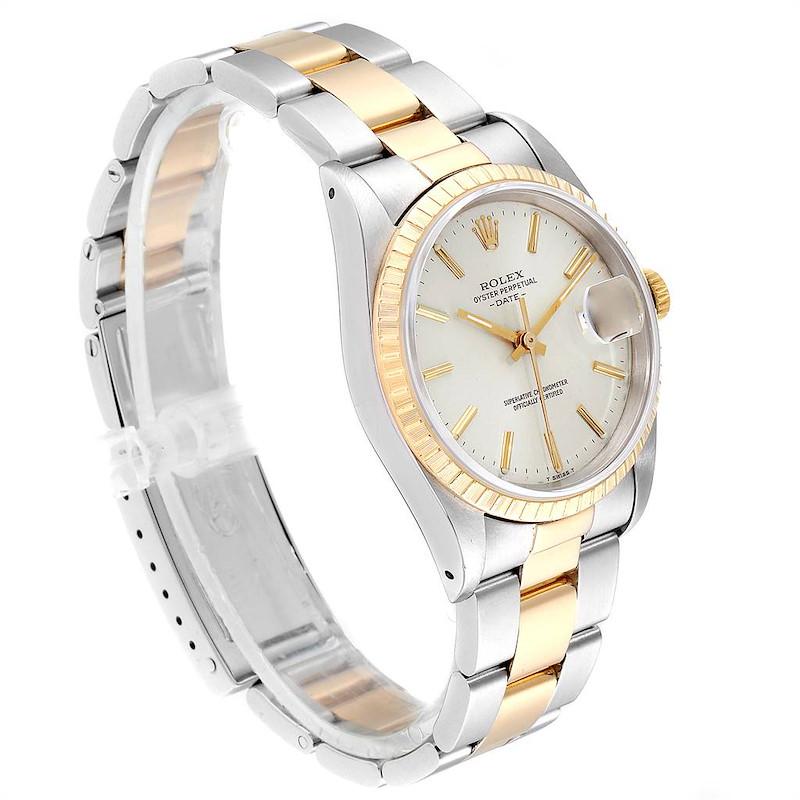 Rolex Date Mens Steel 18k Yellow Gold Silver Dial Mens Watch 15223 SwissWatchExpo