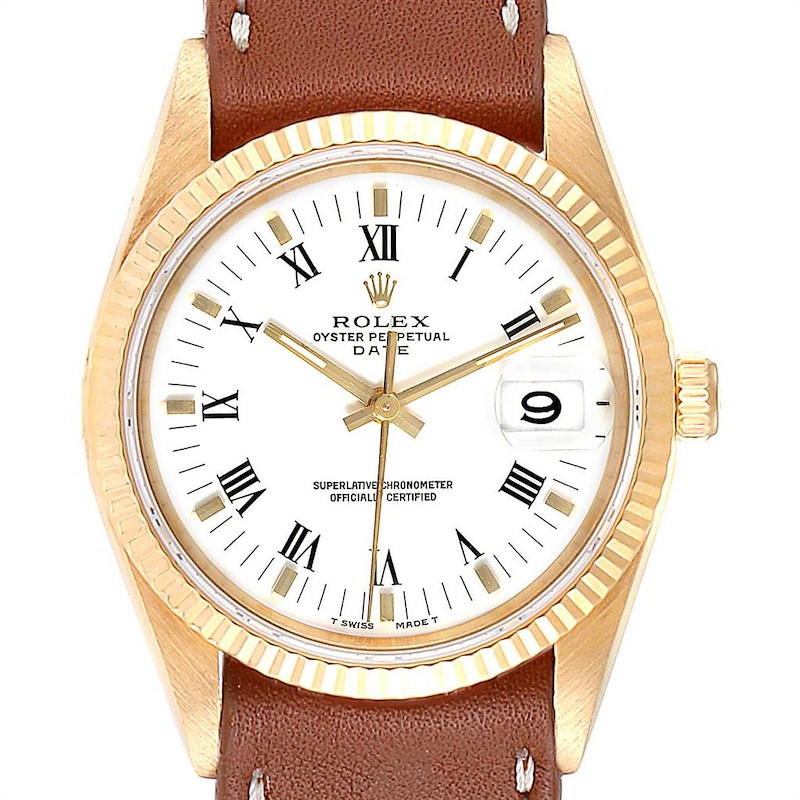 Rolex Date Yellow Gold White Dial Brown Strap Mens Watch 15238 SwissWatchExpo