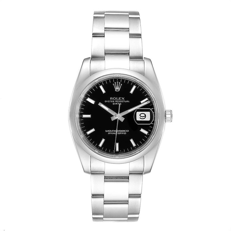 Rolex Date Black Dial Oyster Bracelet Steel Mens Watch 115200 SwissWatchExpo
