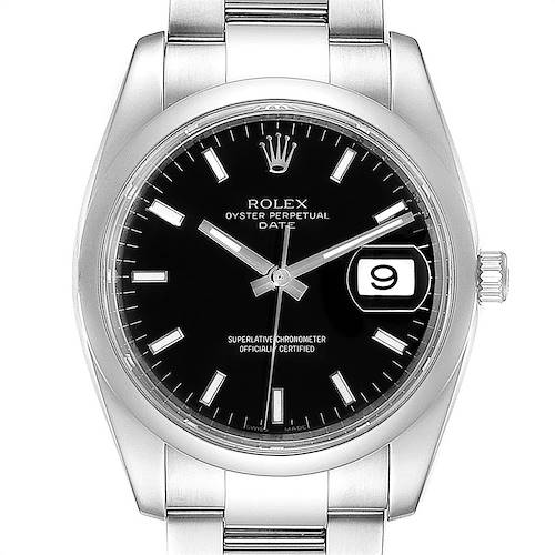 Rolex Date Black Dial Oyster Bracelet Steel Mens Watch 115200