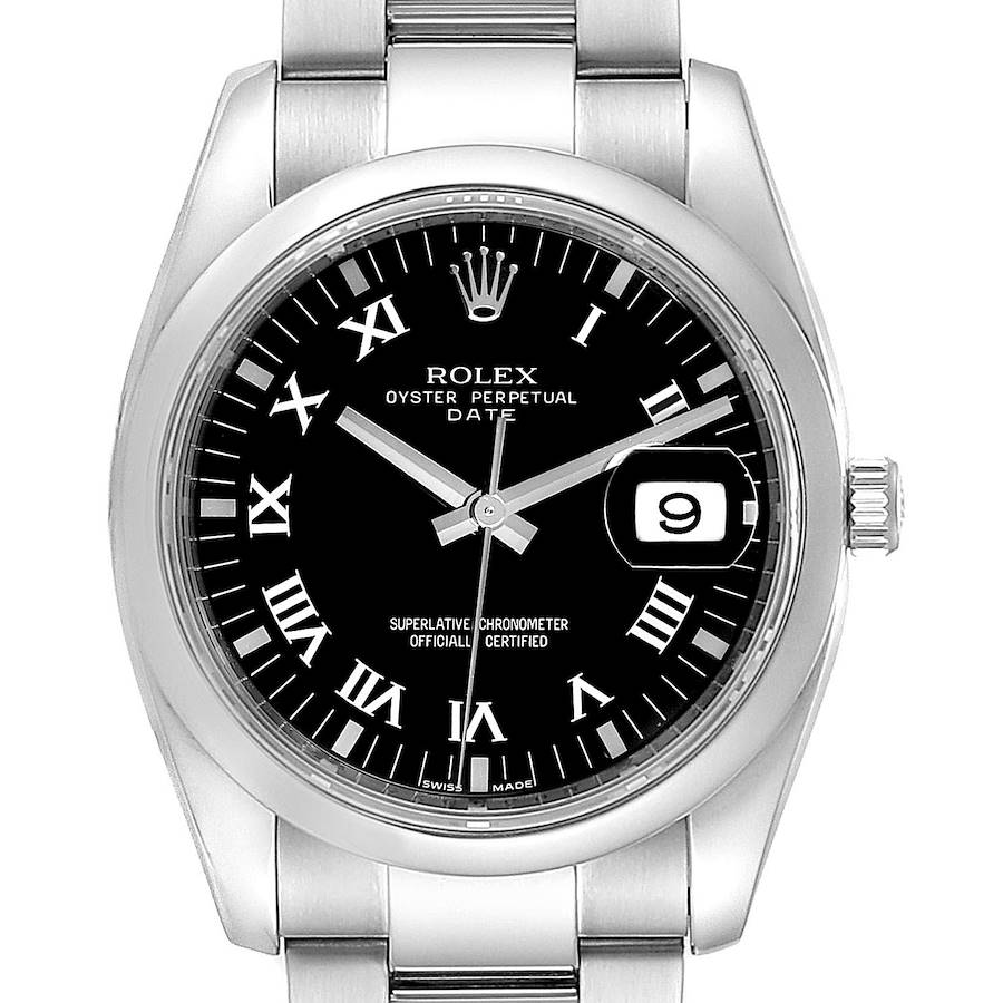 Rolex Date Black Dial Oyster Bracelet Steel Mens Watch 115200 Box Card SwissWatchExpo