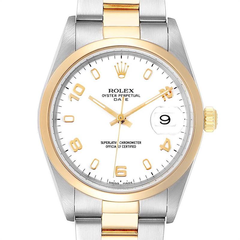 Rolex Date Steel Yellow Gold White Dial Mens Watch 15203 Box SwissWatchExpo