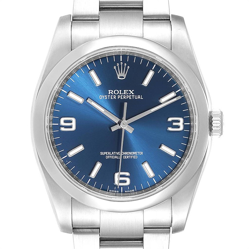 Rolex Oyster Perpetual Blue Dial Domed Bezel Mens Watch 116000 SwissWatchExpo