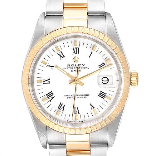 Photo of Rolex Date Mens Steel Yellow Gold White Dial Mens Watch 15223 Box Papers