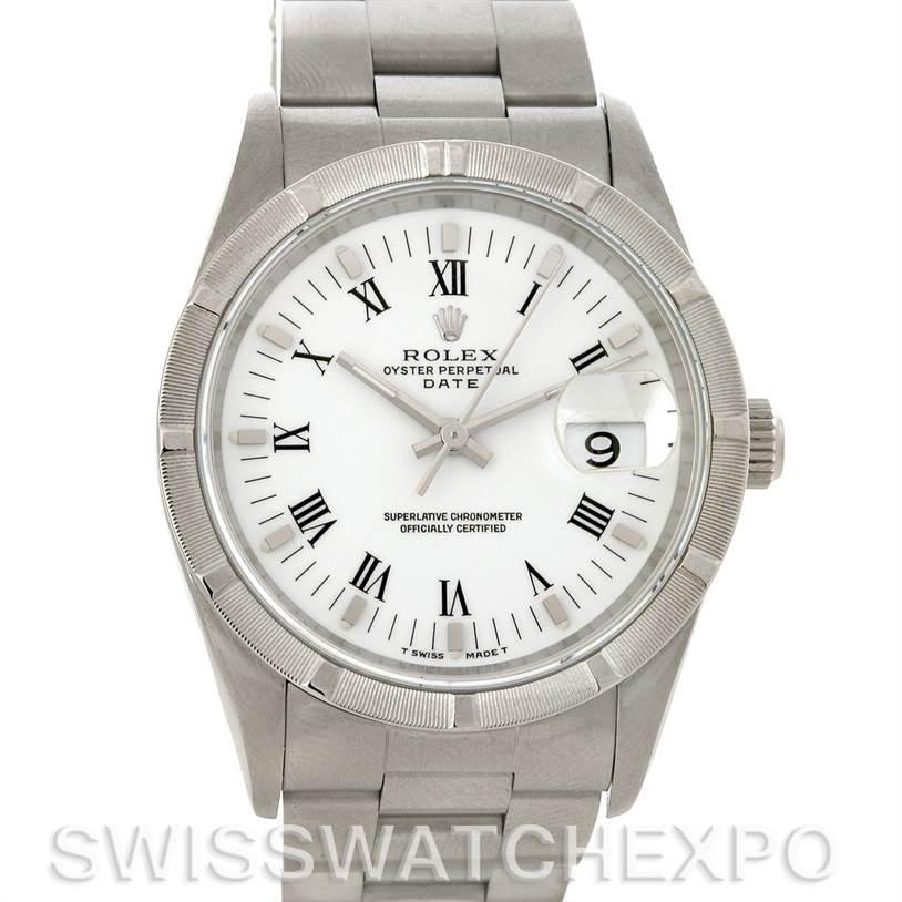 3076 Rolex Date Mens Steel White Dial Watch 15210 SwissWatchExpo
