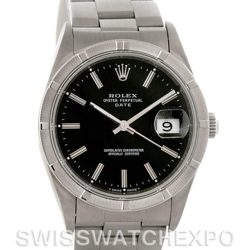 3058 Rolex Date Mens Steel Black Index Dial Watch 15210 SwissWatchExpo