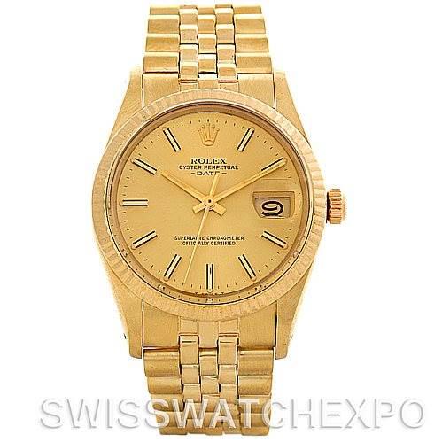 Vintage Rolex Date 15037 Mens 14k Yellow Gold Watch SwissWatchExpo