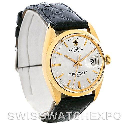 Rolex Date 1503 Vintage Mens 14k Yellow Gold Watch SwissWatchExpo