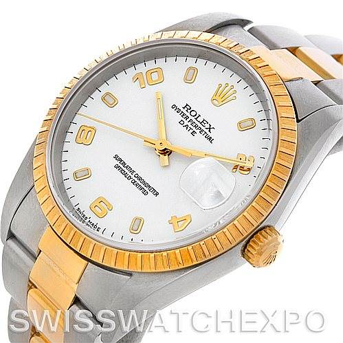 4762 Rolex Date Men's Steel 18k Yellow Gold Watch 15223 NOS SwissWatchExpo
