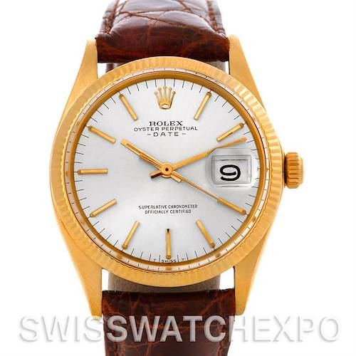 Photo of Rolex Date 1503 Vintage Mens 14k Yellow Gold Watch