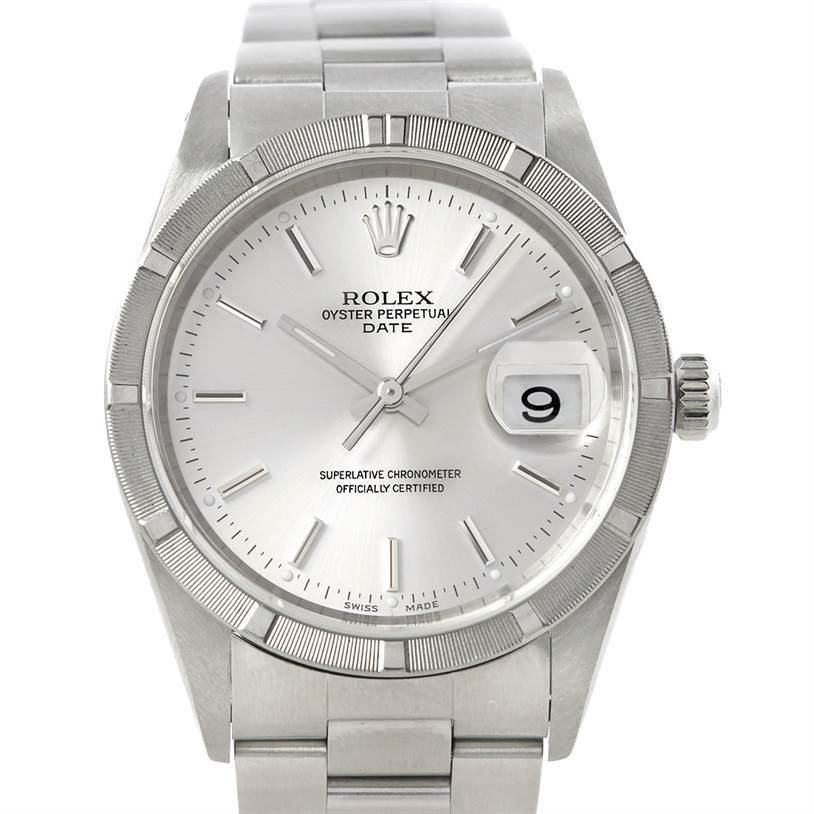 5784 Rolex Date Mens Steel Watch 15210 SwissWatchExpo