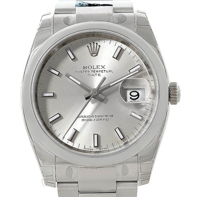 Rolex Date Steel Silver Dial Mens Watch 115200 Unworn SwissWatchExpo