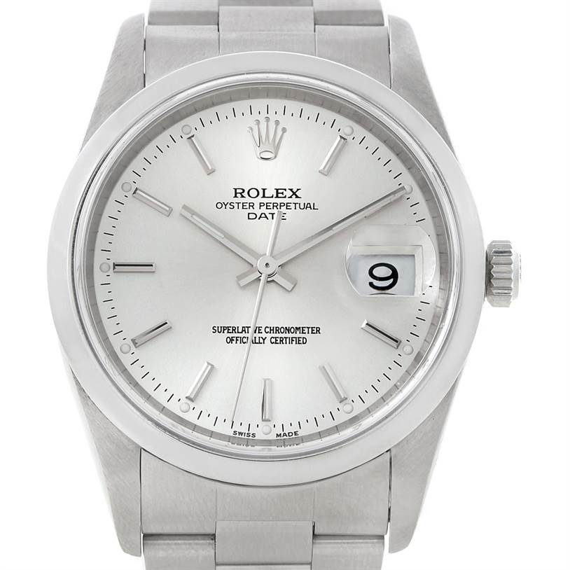 8320 Rolex Date Mens Silver Dial Steel Watch 15200 SwissWatchExpo