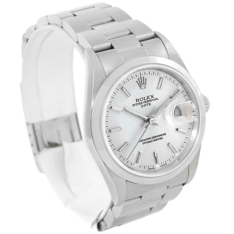 Rolex Date Silver Dial Stainless Steel Mens Watch 15200 Unworn SwissWatchExpo