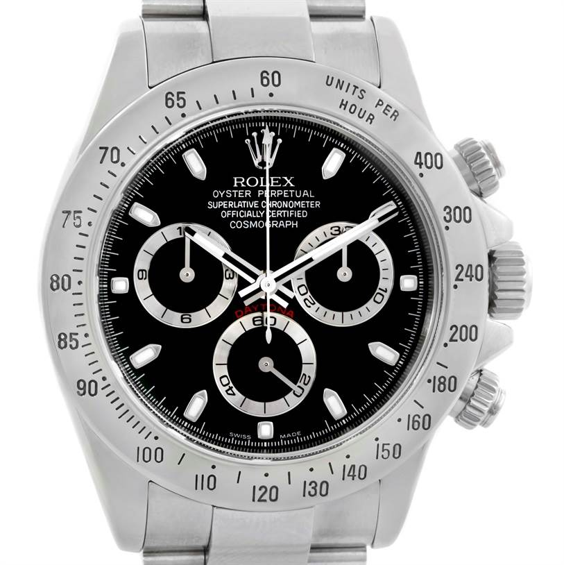 10095 Rolex Cosmograph Daytona Black Dial Mens Stainless Steel Watch 116520 SwissWatchExpo