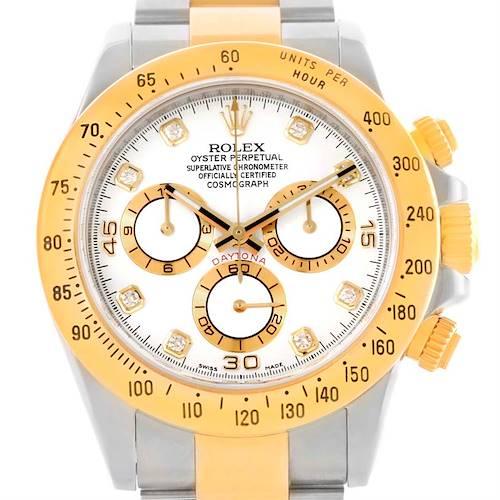Photo of Rolex Cosmograph Daytona Steel 18K Yellow Gold Diamond Watch 116523