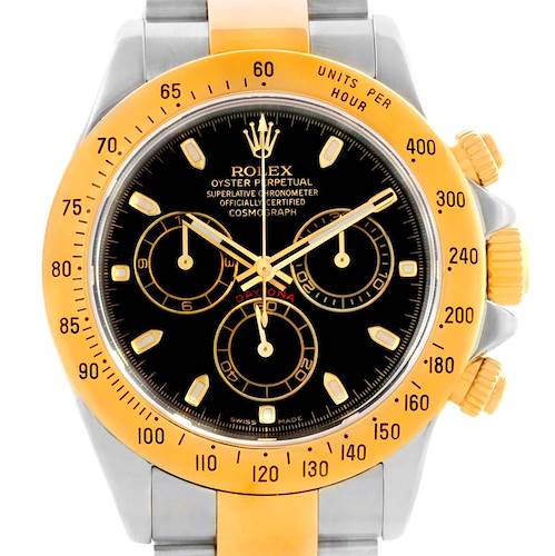Photo of Rolex Cosmograph Daytona Black Dial Steel 18K Yellow Gold Watch 16523