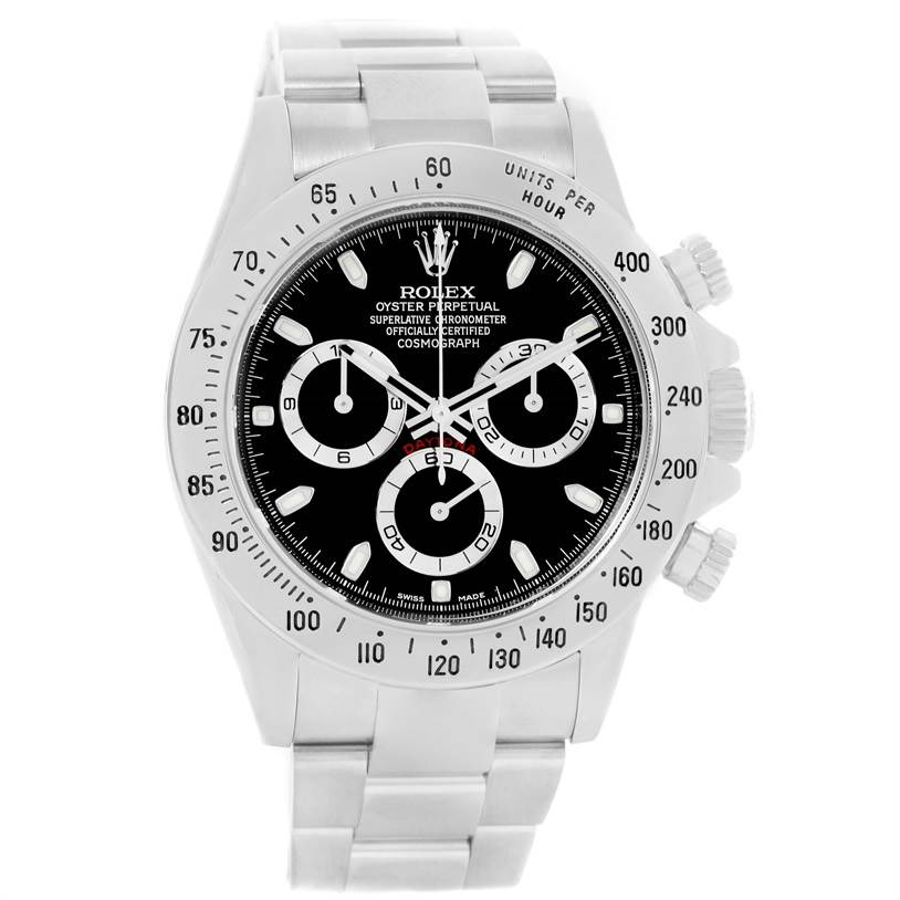 Rolex Daytona Stainless Steel Black Dial Watch 116520 Box Papers SwissWatchExpo