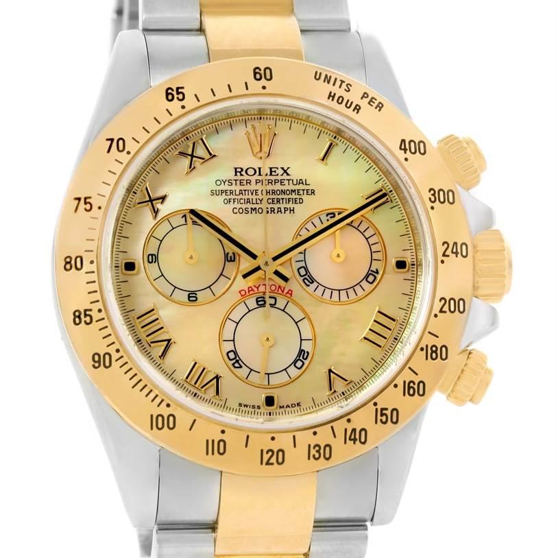 Rolex Cosmograph Daytona Steel 18K Yellow Gold MOP Dial Watch 116523 SwissWatchExpo