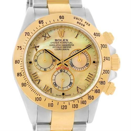 Photo of Rolex Cosmograph Daytona Steel 18K Yellow Gold MOP Dial Watch 116523