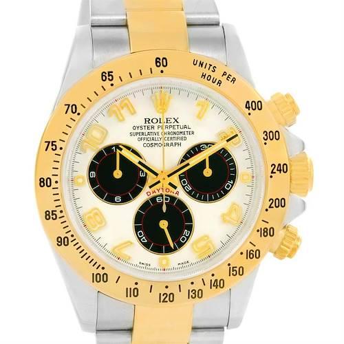 Photo of Rolex Cosmograph Daytona Panda Dial Steel Yellow Gold Watch 116523