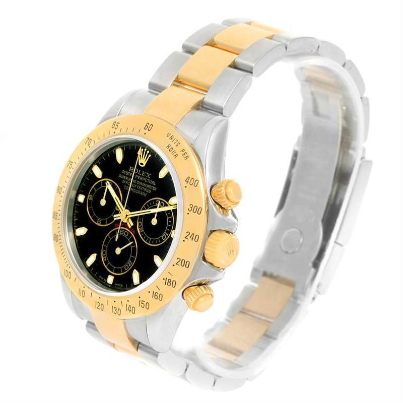 Rolex Cosmograph Daytona Steel 18K Yellow Gold Black Dial Watch 116523 SwissWatchExpo