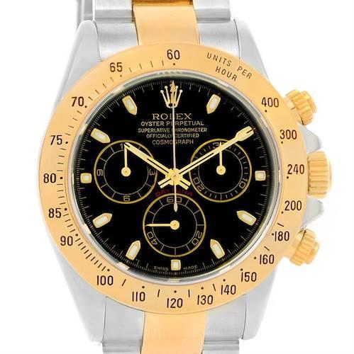 Photo of Rolex Cosmograph Daytona Steel 18K Yellow Gold Black Dial Watch 116523
