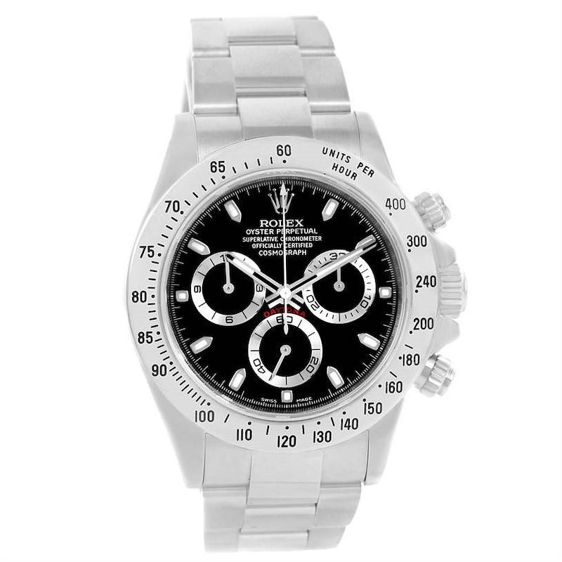Rolex Daytona Stainless Steel Black Dial Watch 116520 Box Papers SwissWatchExpo