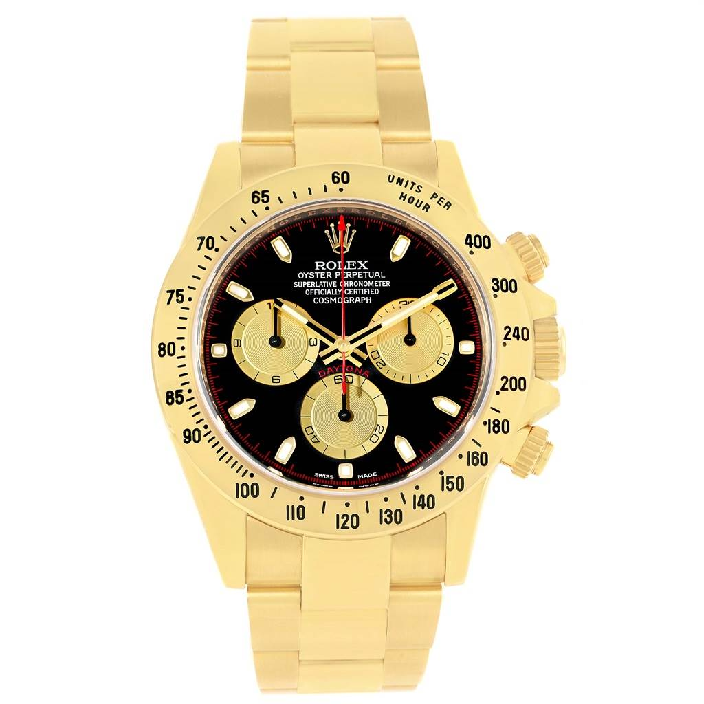 Rolex Cosmograph Daytona Yellow Gold Black Dial Watch 116528 Box Papers SwissWatchExpo