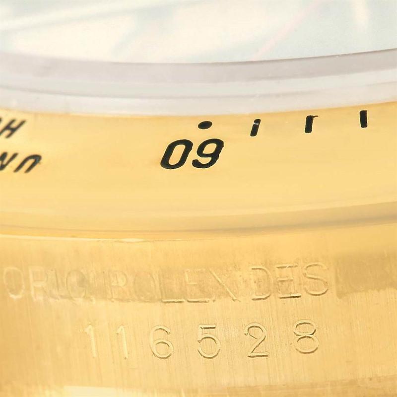 Rolex Cosmograph Daytona Yellow Gold Black Dial Watch 116528 Box Papers SwissWatchExpo