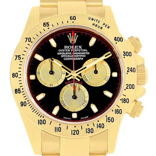 Photo of Rolex Cosmograph Daytona Yellow Gold Black Dial Watch 116528 Box Papers