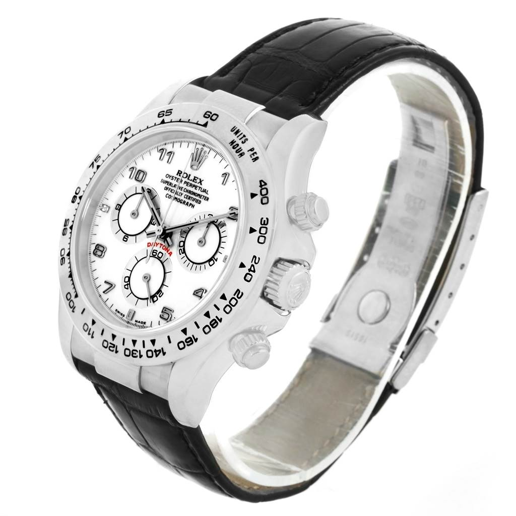 13535P Rolex Cosmograph Daytona White Gold Black Strap Mens Watch 116519 SwissWatchExpo