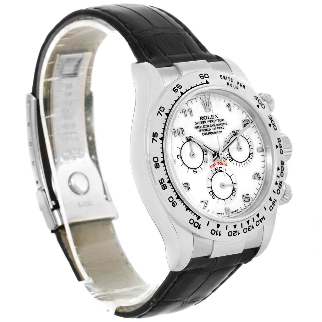 13535P Rolex Cosmograph Daytona White Gold Black Strap Mens Watch 116519 SwissWatchExpo