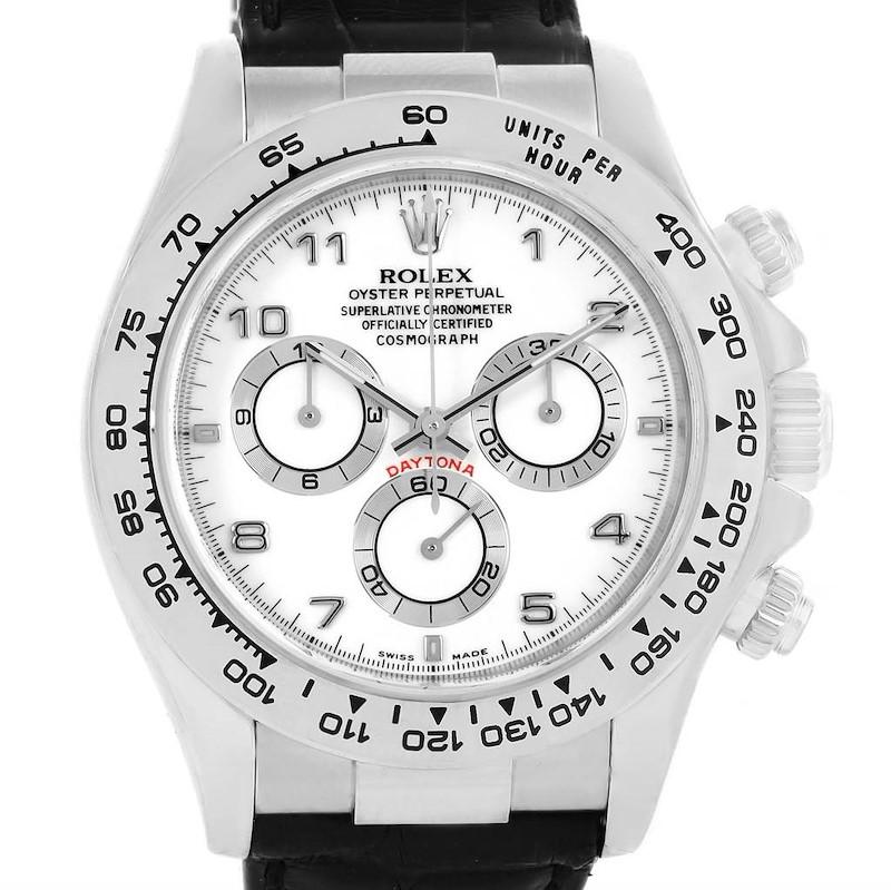 Rolex Cosmograph Daytona White Gold Black Strap Mens Watch 116519 SwissWatchExpo