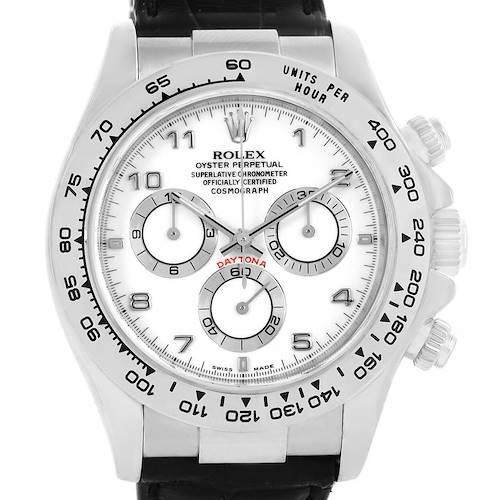 Photo of Rolex Cosmograph Daytona White Gold Black Strap Mens Watch 116519