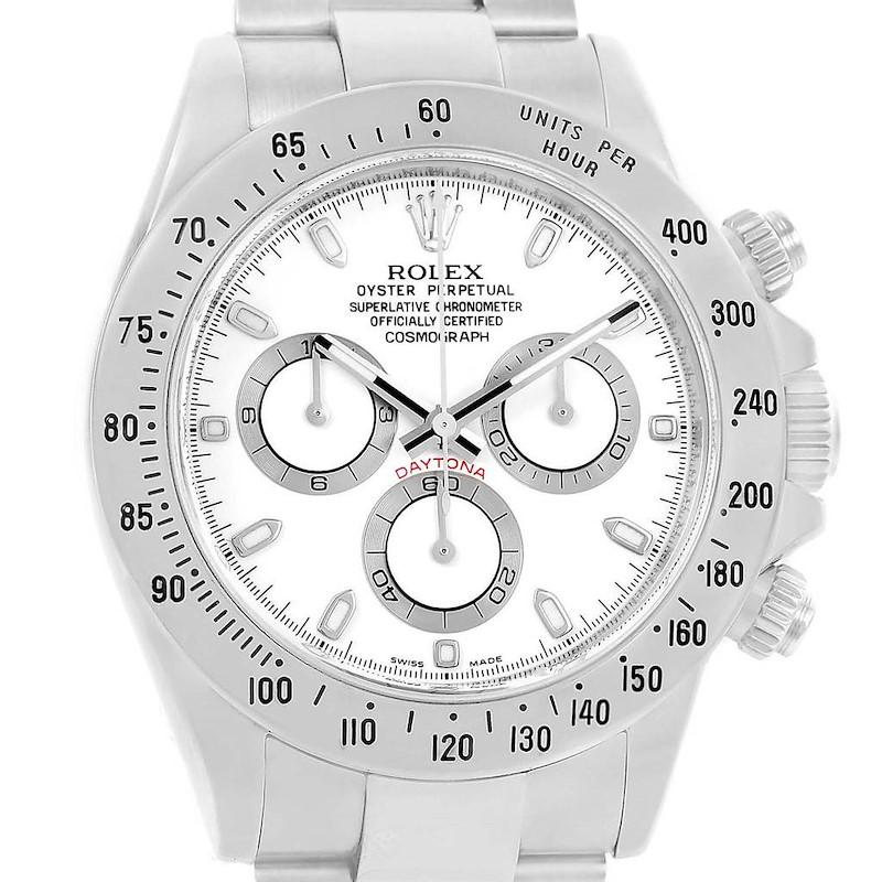 Rolex Cosmograph Daytona White Dial Stainless Steel Mens Watch 116520 SwissWatchExpo
