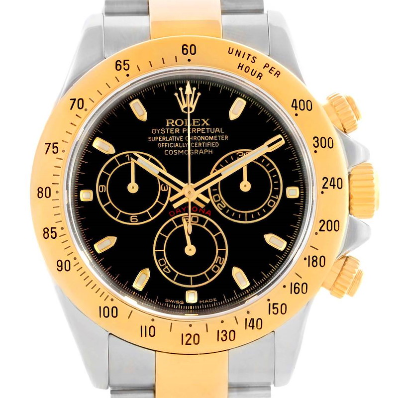 Rolex Cosmograph Daytona Steel 18K Yellow Gold Black Dial Watch 116523 SwissWatchExpo
