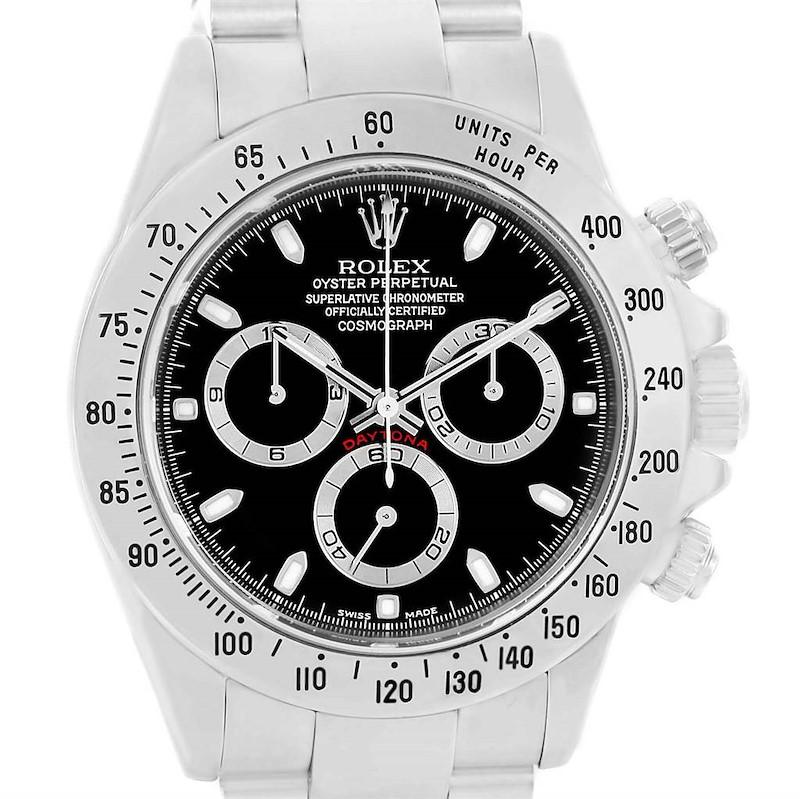 Rolex Cosmograph Daytona Black Dial Chronograph Steel Watch 116520 SwissWatchExpo