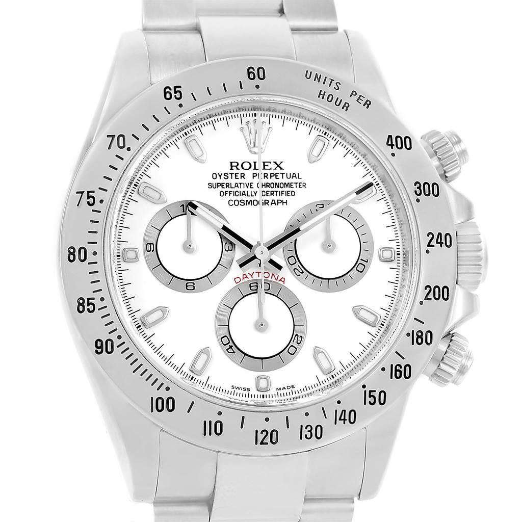 Rolex Cosmograph Daytona White Dial Chronograph Steel Watch 116520 SwissWatchExpo