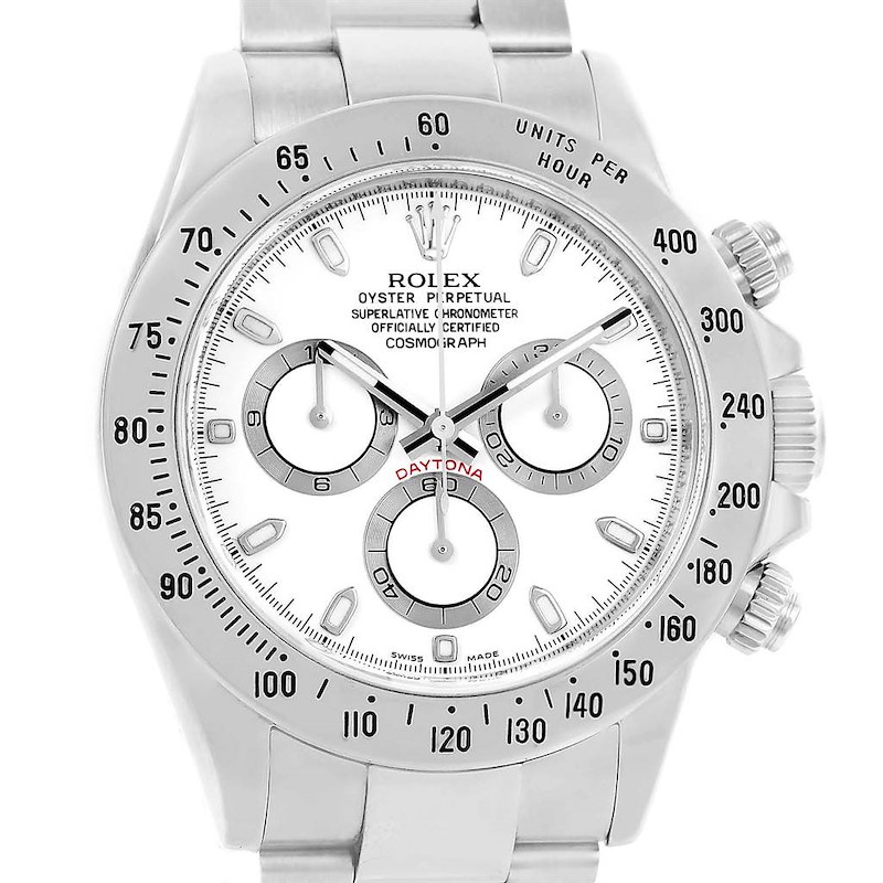 Rolex Cosmograph Daytona White Dial Steel Watch 116520 Box Papers SwissWatchExpo