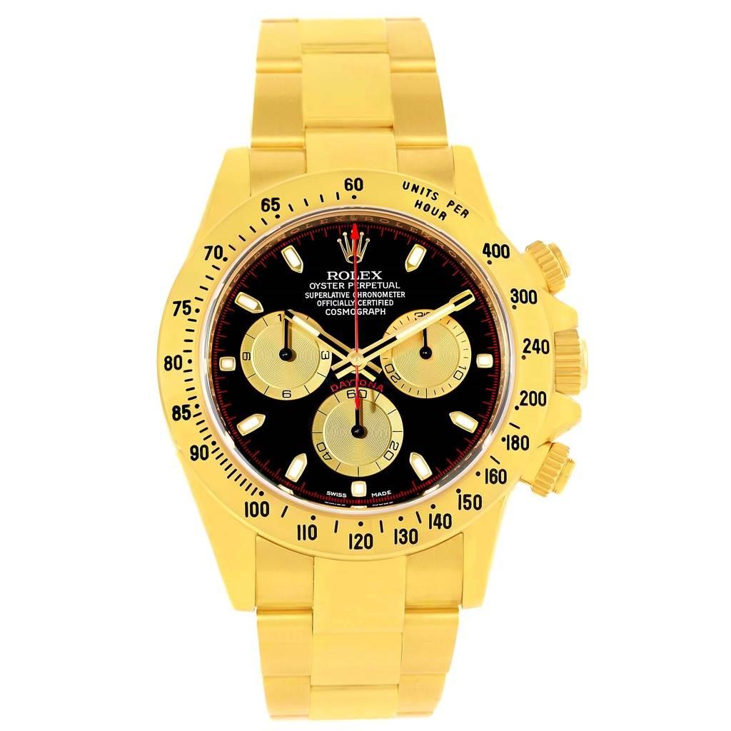 Rolex Cosmograph Daytona 18k Yellow Gold Black Dial Mens Watch 116528