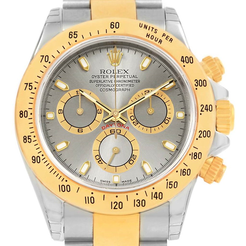 Rolex Daytona Steel 18K Yellow Gold Slate Dial Watch 116523 Unworn SwissWatchExpo