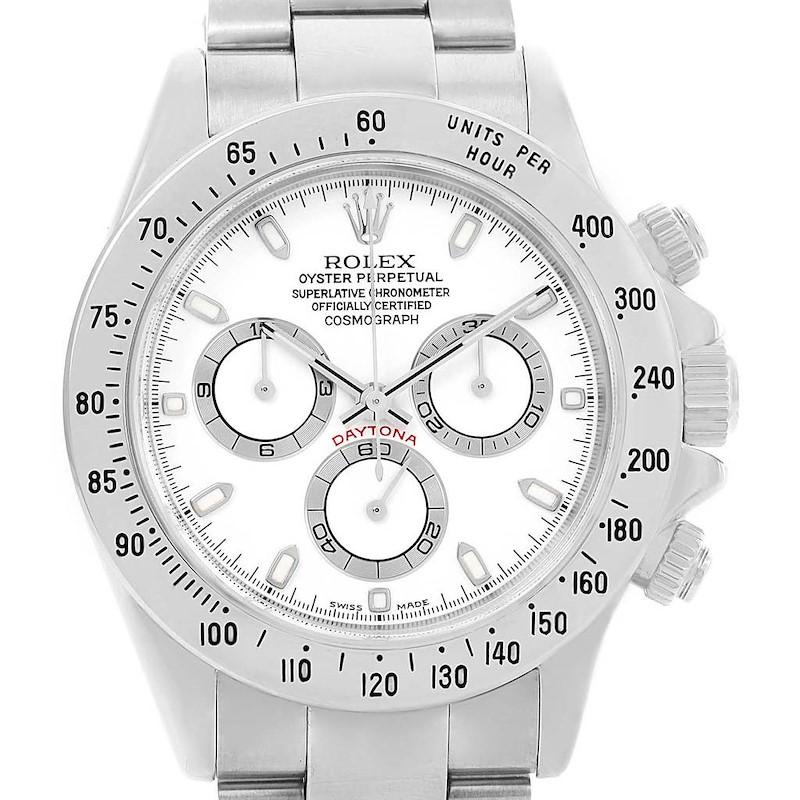 Rolex Cosmograph Daytona White Dial Chronograph Watch 116520 Box Card SwissWatchExpo