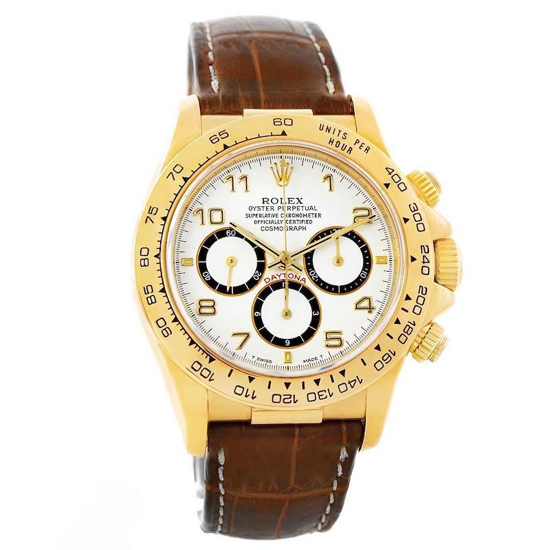 Rolex Cosmograph Daytona Yellow Gold White Dial Watch 16518 Box Papers SwissWatchExpo