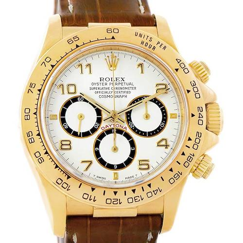 Photo of Rolex Cosmograph Daytona Yellow Gold White Dial Watch 16518 Box Papers