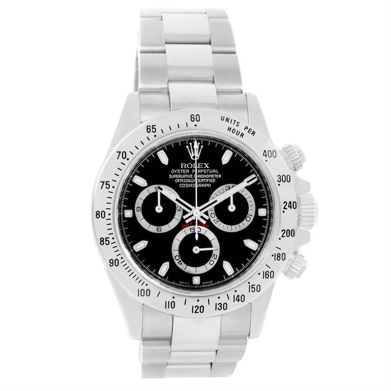 Rolex Cosmograph Daytona Stainless Steel Black Dial Mens Watch 116520 SwissWatchExpo