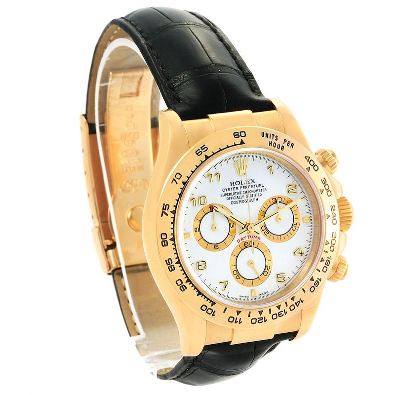 Rolex Cosmograph Daytona Yellow Gold White Dial Watch 116518 Box Papers SwissWatchExpo