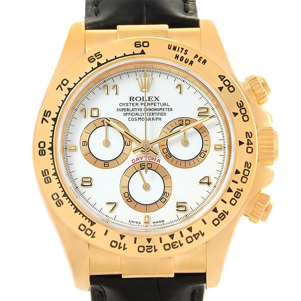 10d181b8253 ... 16152 Rolex Cosmograph Daytona Yellow Gold White Dial Watch 116518 Box  Papers SwissWatchExpo ...